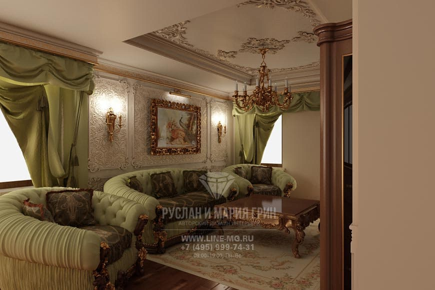 The design of the living room in an apartment in the rococo style