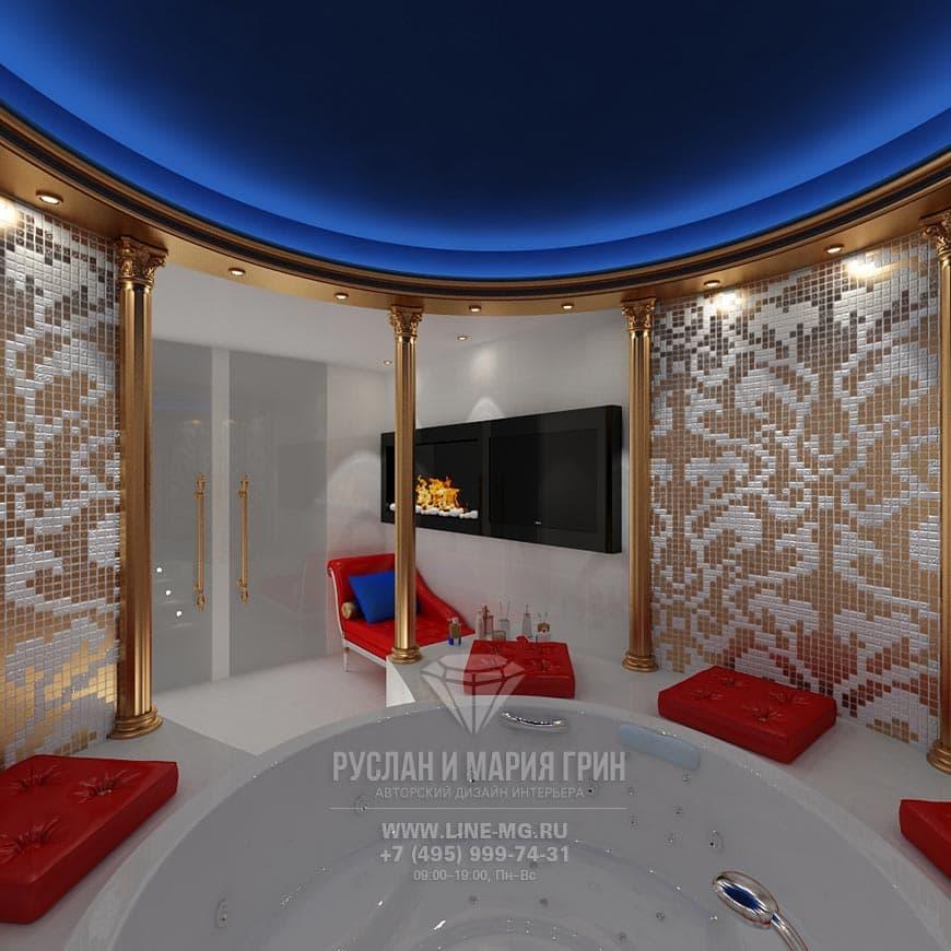 Колонны в интерьере ванной: фото