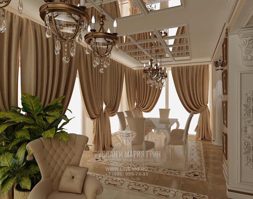 Интерьер столовой в стиле модерн в бежевых тонах