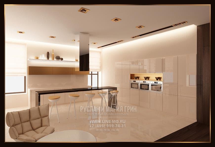 Фото дизайна интерьера кухни-столовой в светлых тонах