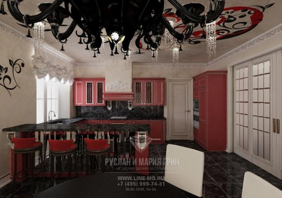 Интерьер кухни в современном стиле в доме