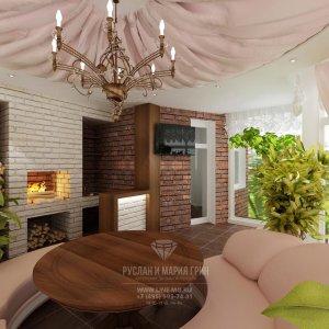 Интерьер веранды в частном доме