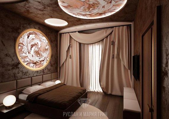 Интерьер спальни в классическом стиле в доме