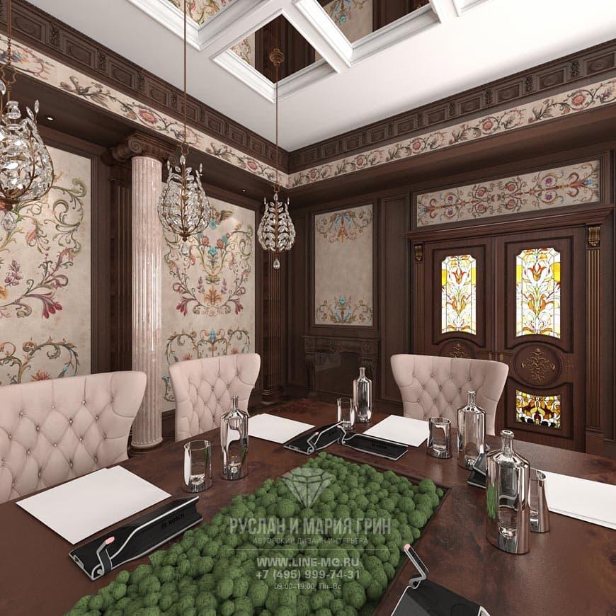 Необычные решения на фото дизайна интерьера конференц-зала в стиле «путинский ампир»
