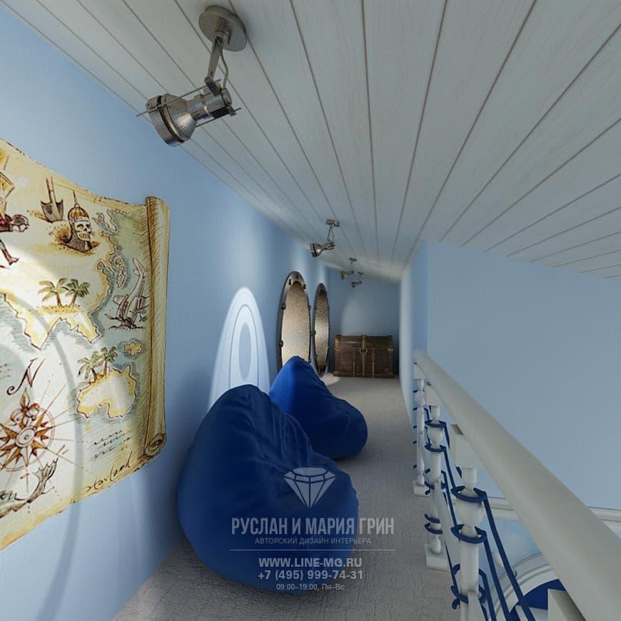 Фото интерьера детской комнаты в морском стиле