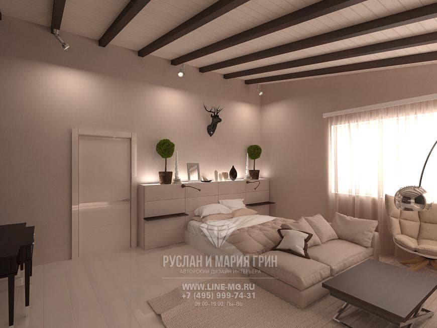 Design of an apartment in a modern style. Photo bedroom interior