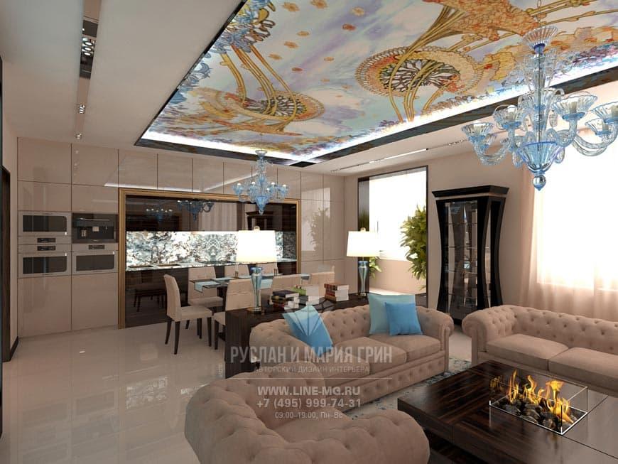 Photos of interior kitchen-living room