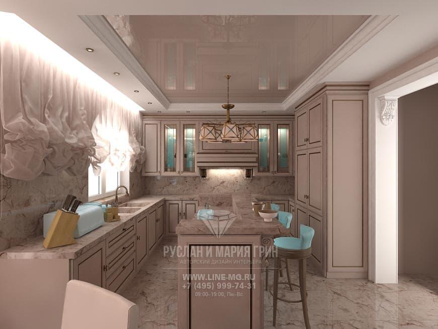 Фото интерьера кухни-столовой с бирюзовым акцентом