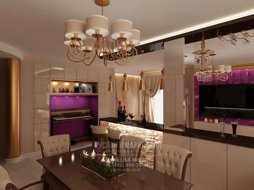 Современная идея интерьера гостиной в квартире