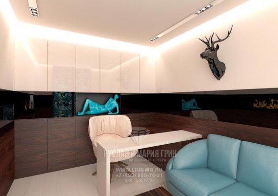 Интерьер современного кабинета с элементами стиля модерн