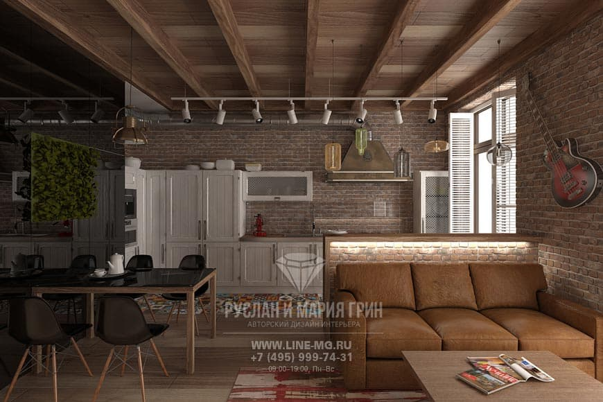 Photos of interior kitchen-living in loft-style
