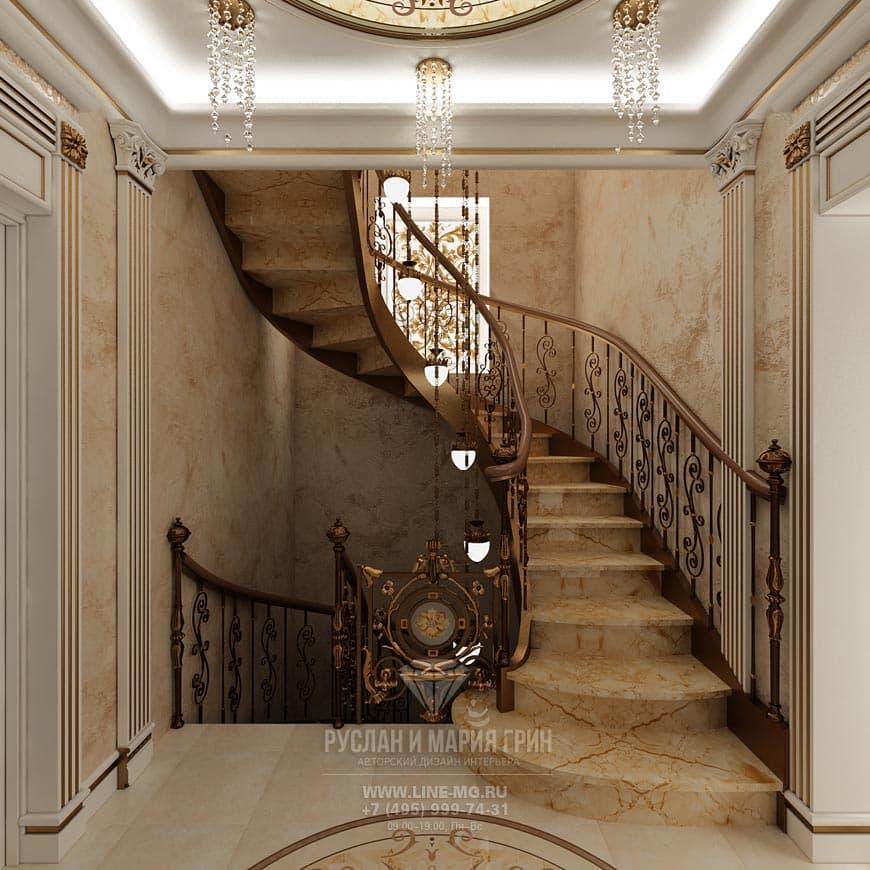 Интерьер лестничного холла: фото
