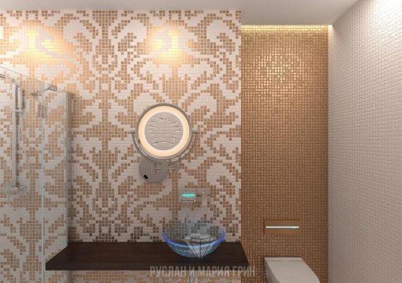 Интерьер дизайна санузла в классическом стиле с элементами арт-деко