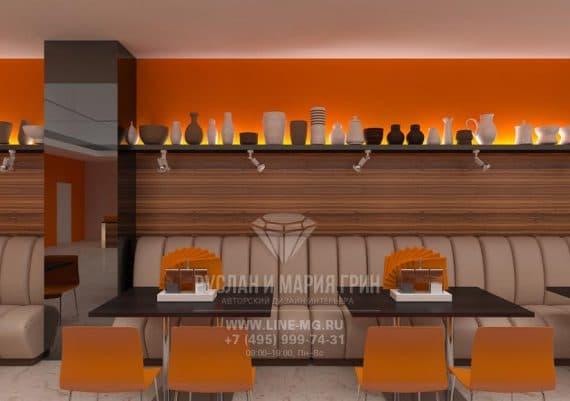Дизайн столовой с оранжевыми и коричневыми акцентами