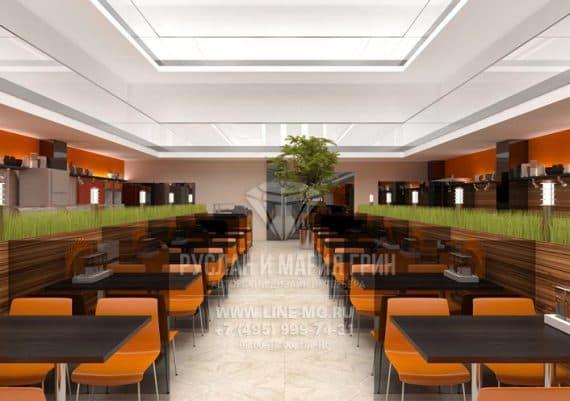 Интерьер оранжевого обеденного зала общественной столовой