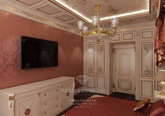 Интерьер спальни в классическом стиле в квартире