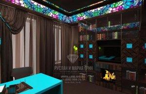 Фото дизайна интерьера кабинета в квартире: лазуревые акценты