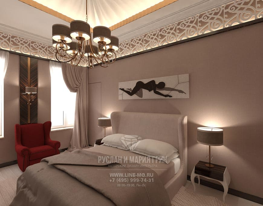 Photo bedroom interior in coffee tones
