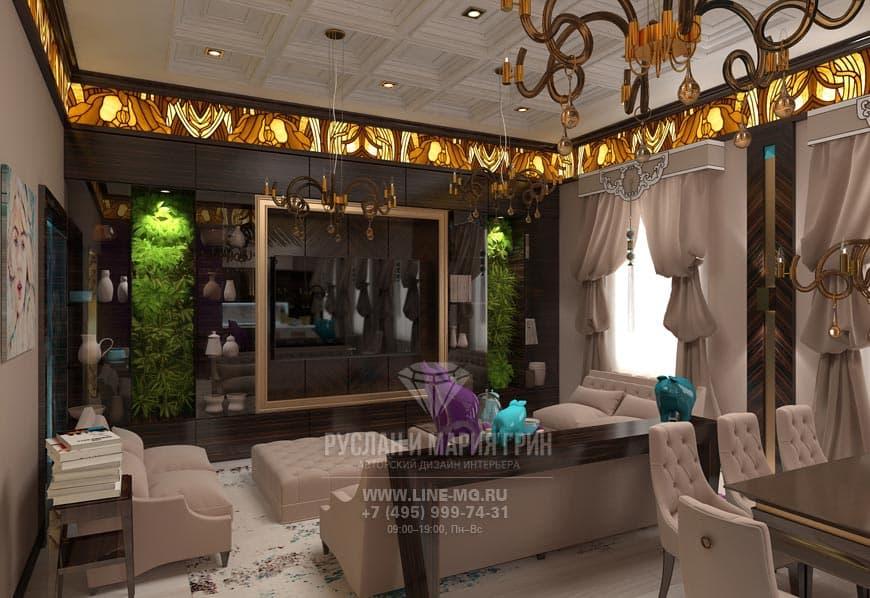 Фото интерьера гостиной с элементами арт-деко