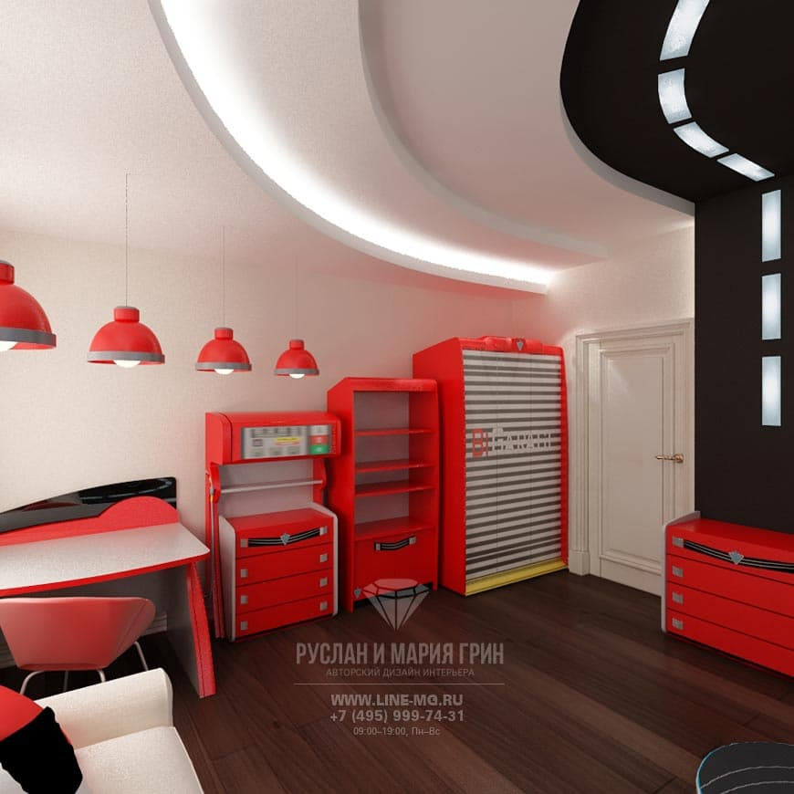 Photos of the interior nursery for the boy in bright colors