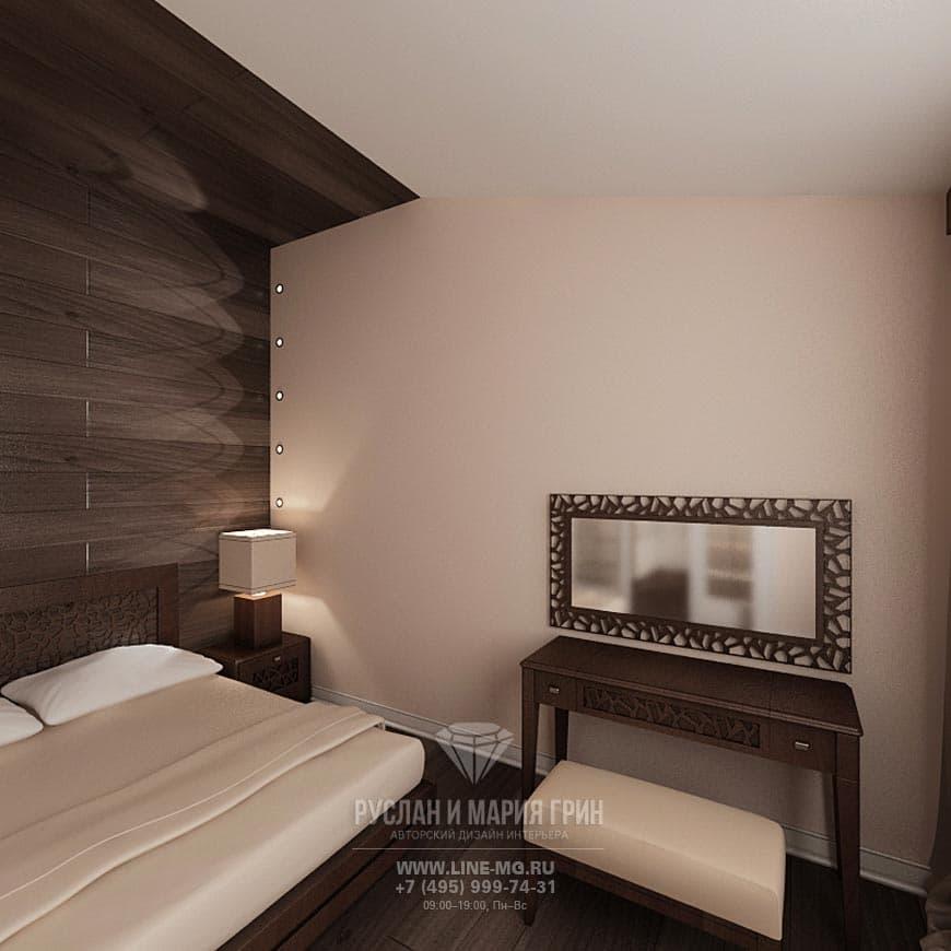 Фото интерьера бежево-коричневой спальни в доме