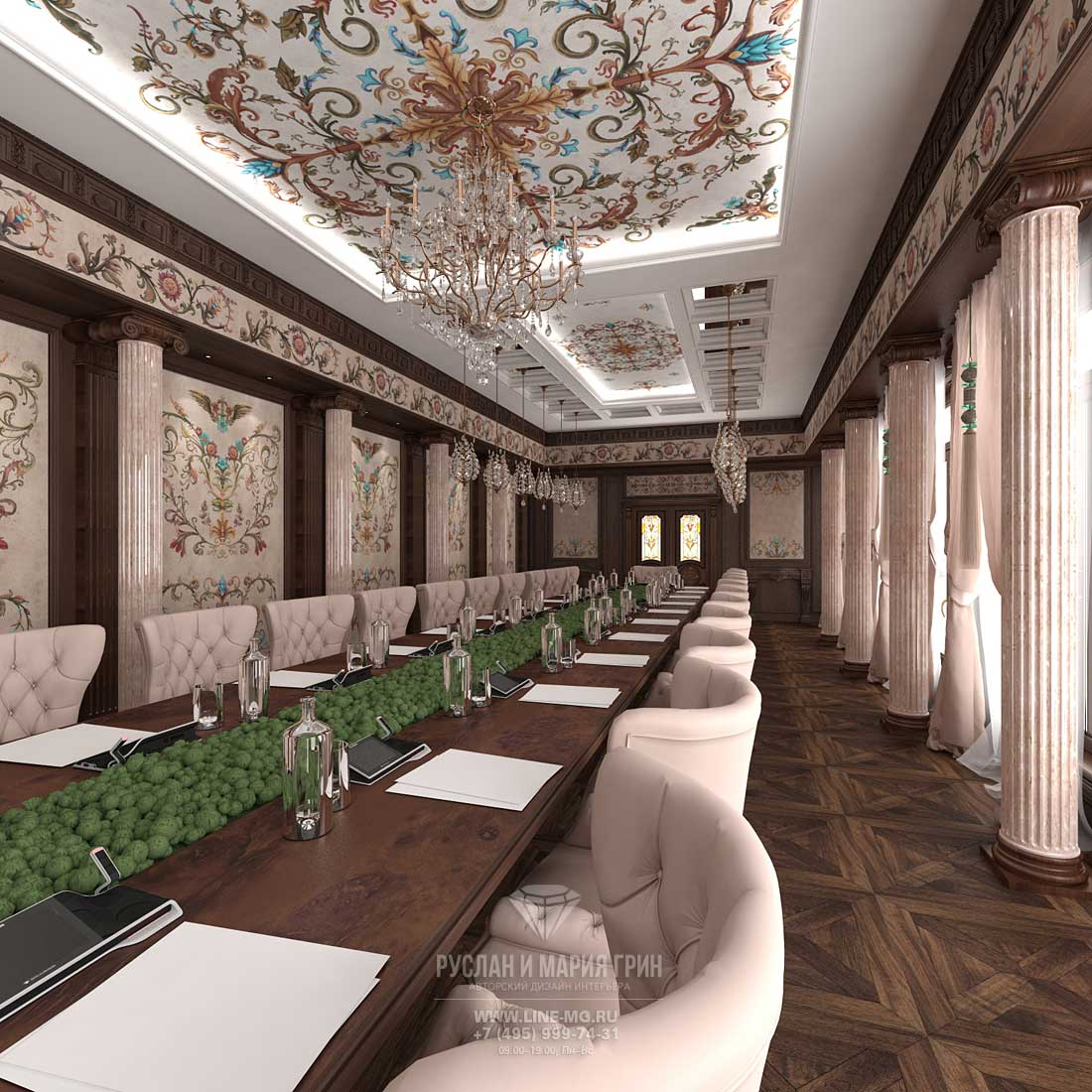The design of the conference room in the Empire style