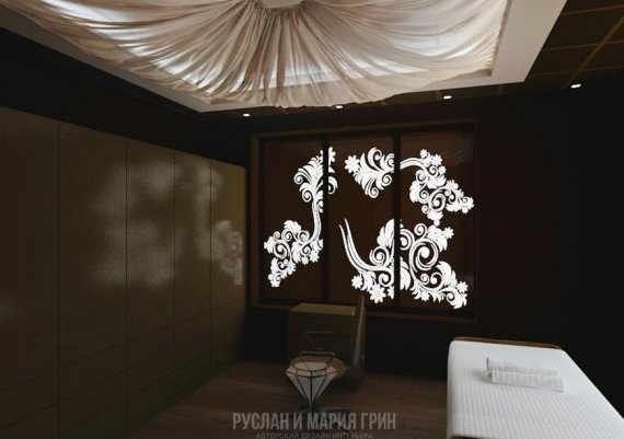 Интерьер кабинета аппаратного лечения в спа-салоне в шоколадном цвете с элементами арт-деко и модерна