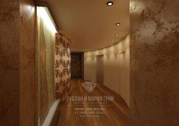 Интерьер холла в спа-салоне в коричневом цвете с элементами арт-деко и модерна