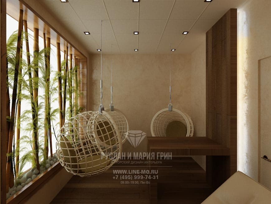 Интерьер комнаты отдыха экостиль