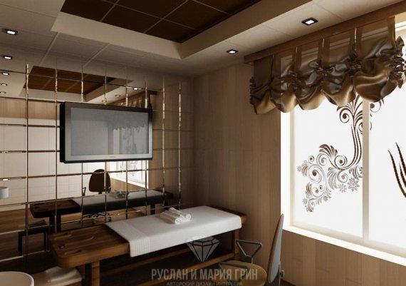 Интерьер кабинета косметолога в спа-салоне в кофейных тонах с элементами арт-деко и модерна