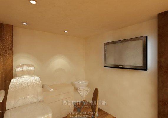 Интерьер кабинета педикюра в спа-салоне в коричневом цвете с элементами арт-деко и модерна