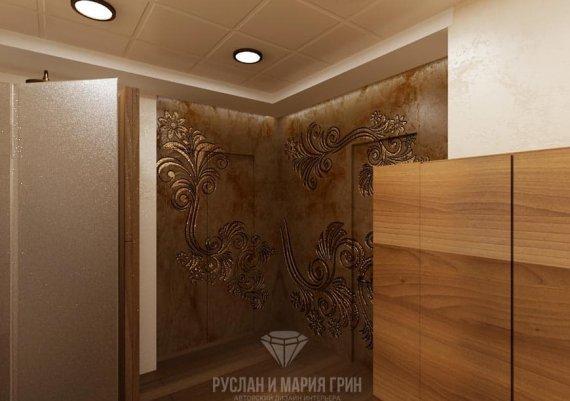 Интерьер мужской раздевалки в спа-салоне в коричневом цвете с элементами арт-деко и модерна