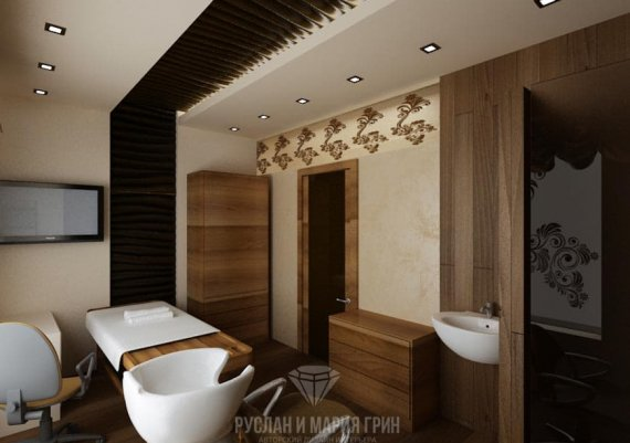 Интерьер VIP-зоны в спа-салоне в коричневом цвете с элементами арт-деко и модерна