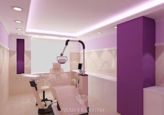 Современный дизайн интерьера кабинета стоматолога в салоне красоты в лиловых тонах
