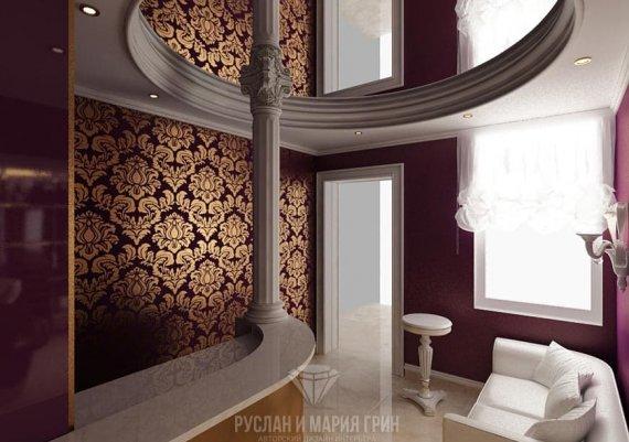 Интерьер холла в салоне красоты в лиловом цвете с элементами арт-деко и модерна