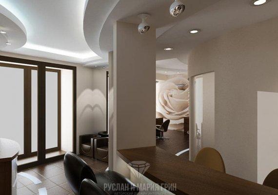 Современный дизайн интерьера в бежевых тонах с элементами футуризма и арт-деко