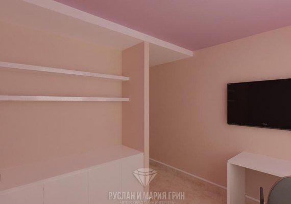 Интерьер кабинета администратора в салоне красоты в розовых тонах с элементами арт-деко и модерна