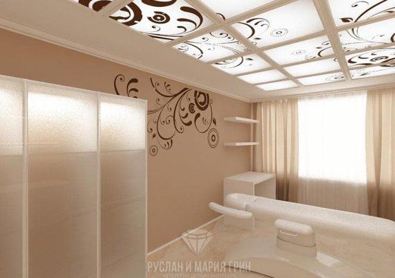 Интерьер кабинета косметолога в салоне красоты в бежевых тонах с элементами арт-деко и модерна