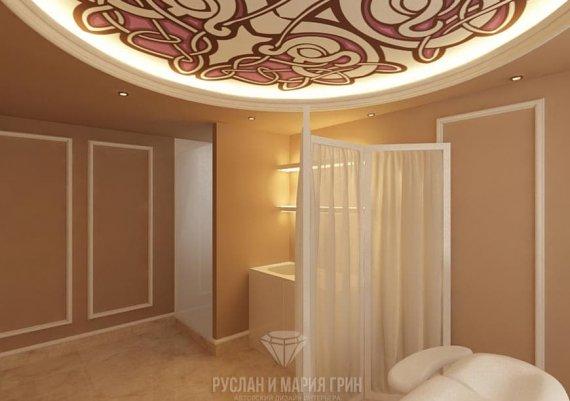 Интерьер кабинета массажиста в салоне красоты в бежевых тонах с элементами арт-деко и модерна