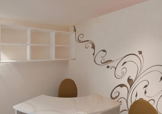 Современный дизайн интерьера салона красоты в бежевых тонах с элементами футуризма и арт-деко