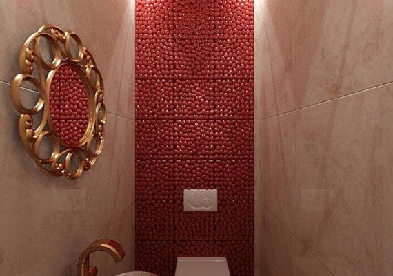 Интерьер санузла в салоне красоты в бежевых тонах с элементами арт-деко и модерна