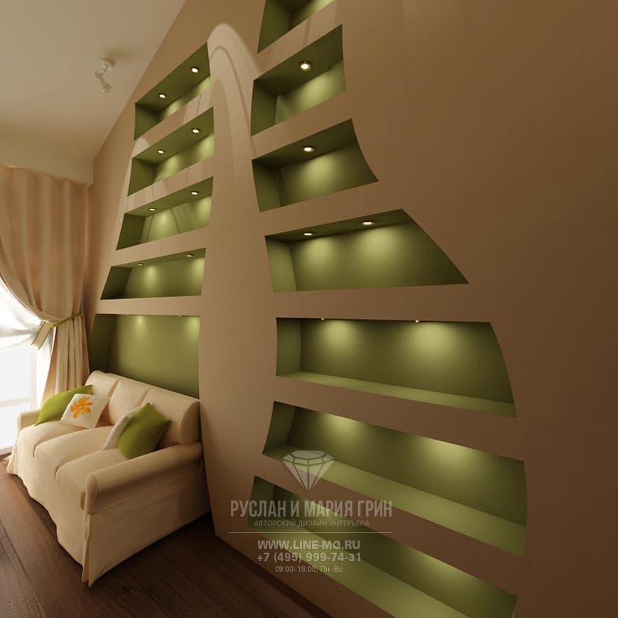 Фото интерьера детской комнаты с подсветкой на полках