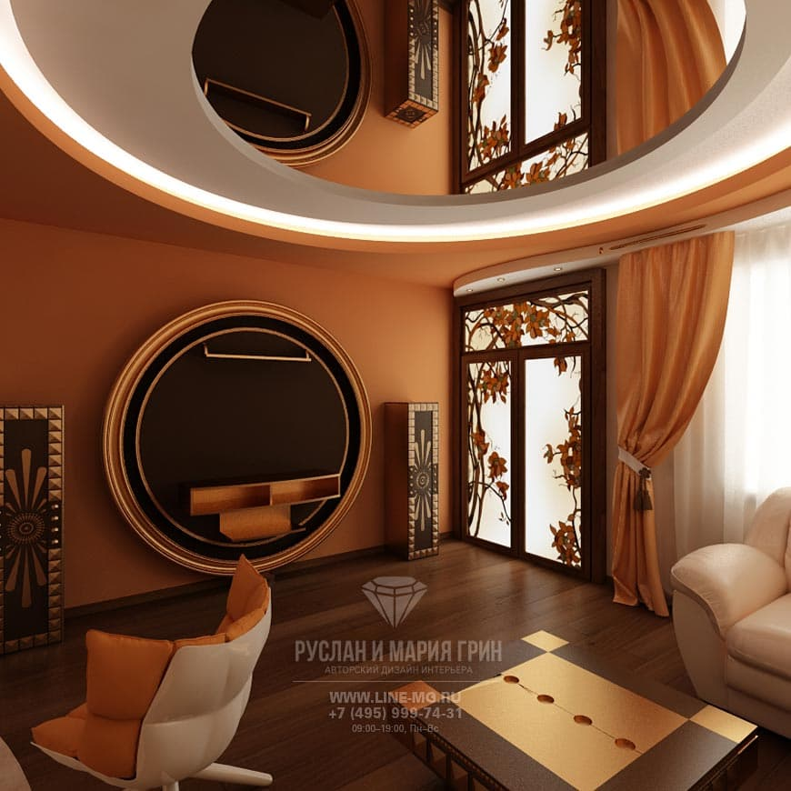 Фото дизайна интерьера гостиной с зеркальным потолком