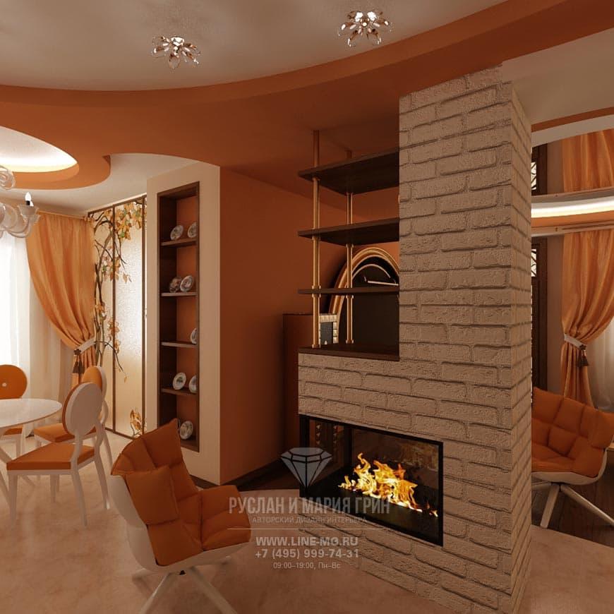 Каминная зона интерьера гостиной. Фото 2015 года