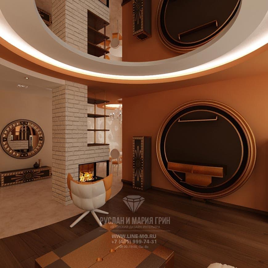 Дизайн интерьера гостиной с камином: фото