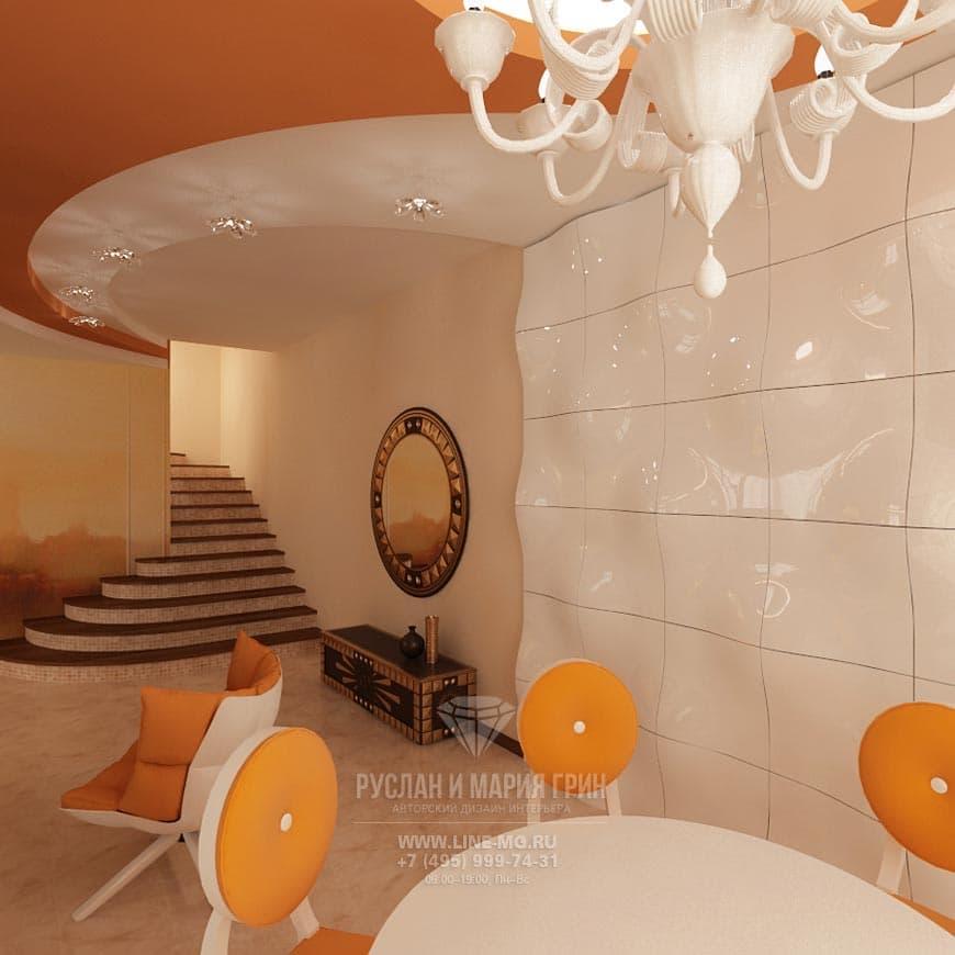 Фото интерьера гостиной в современном стиле в апельсиновых цветах