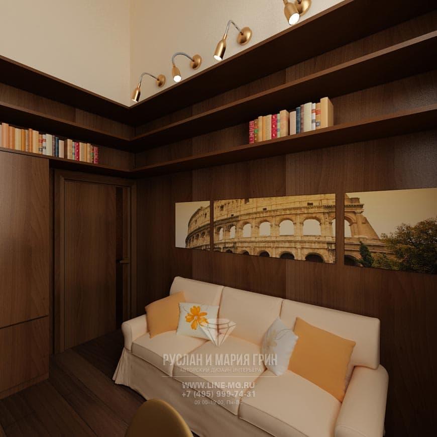 Фото интерьера кабинета в таунхаусе с деревянной текстурой