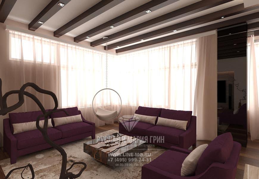 Фото интерьера гостиной в экостиле
