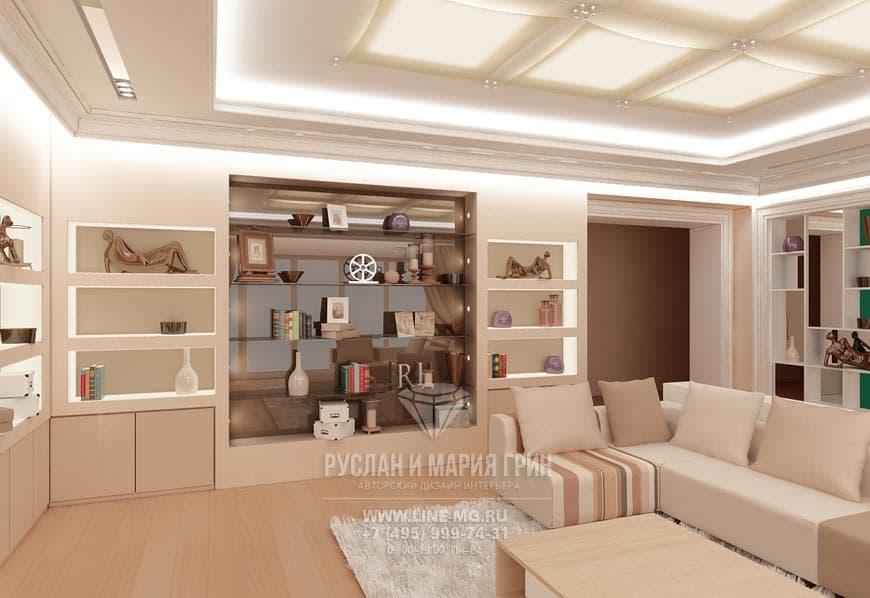 Фото дизайна интерьера гостиной: полки
