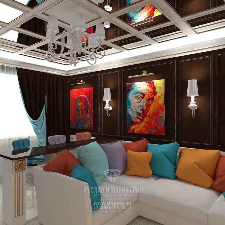 Фото интерьера домашнего кинотеатра в стиле поп-арт